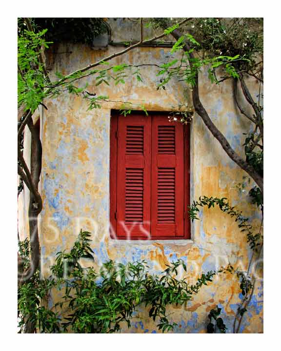 red shutter in athens